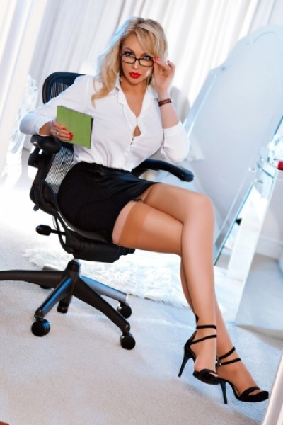 Angie showing us what a sexy secretary should look like