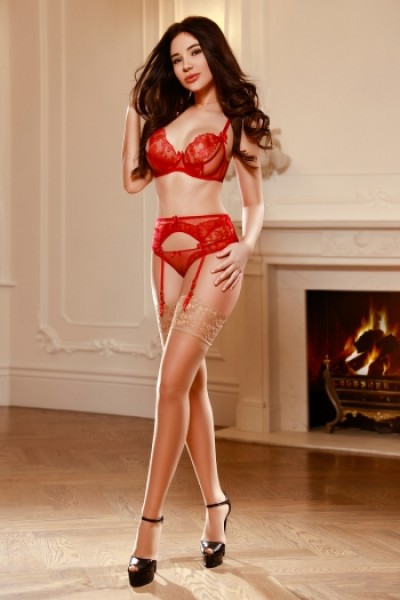 Looking hot in red and nude stockings
